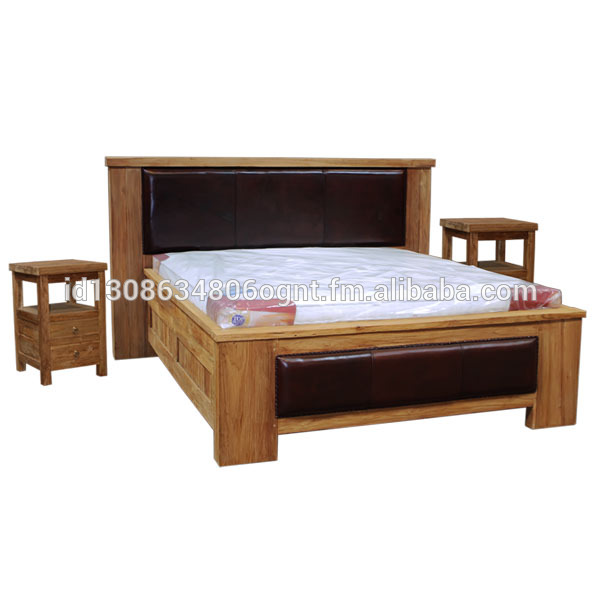 Teak Wood Bedroom Furniture Rustic Bed Leather Combination With