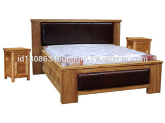 Teak Wood Bedroom Furniture Rustic Bed Leather Combination With Nightstand Bedside Table Jepara Indonesia Furniture