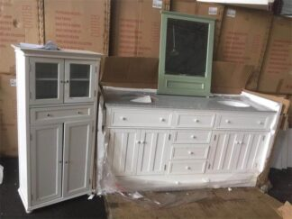 bathroom cabinet and mirror wood frame-2